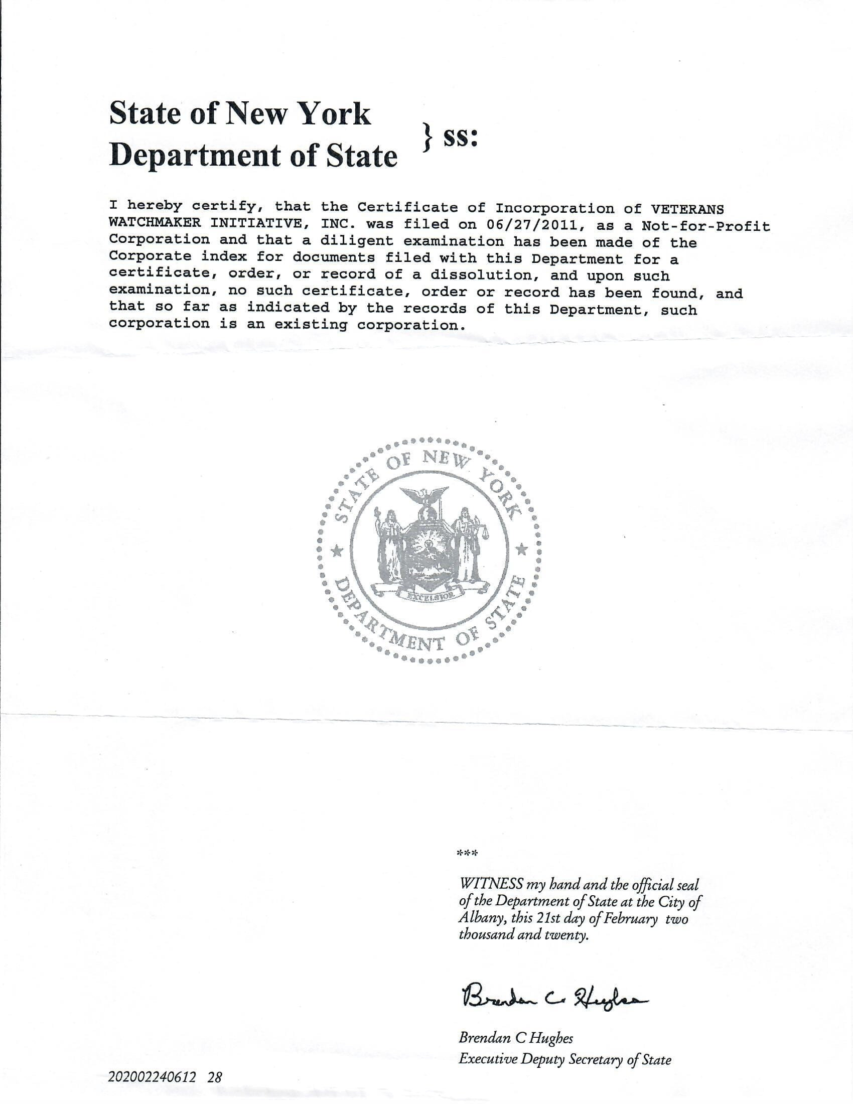 certificate standing delaware incorporation documents department education